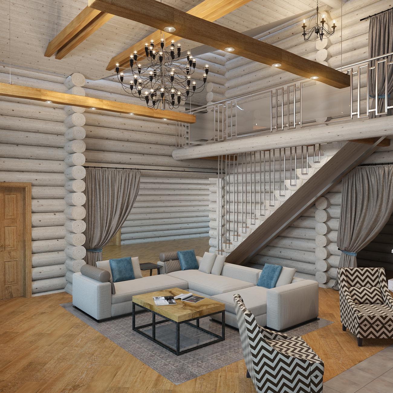 дизайн интерьера деревянного дома (6)