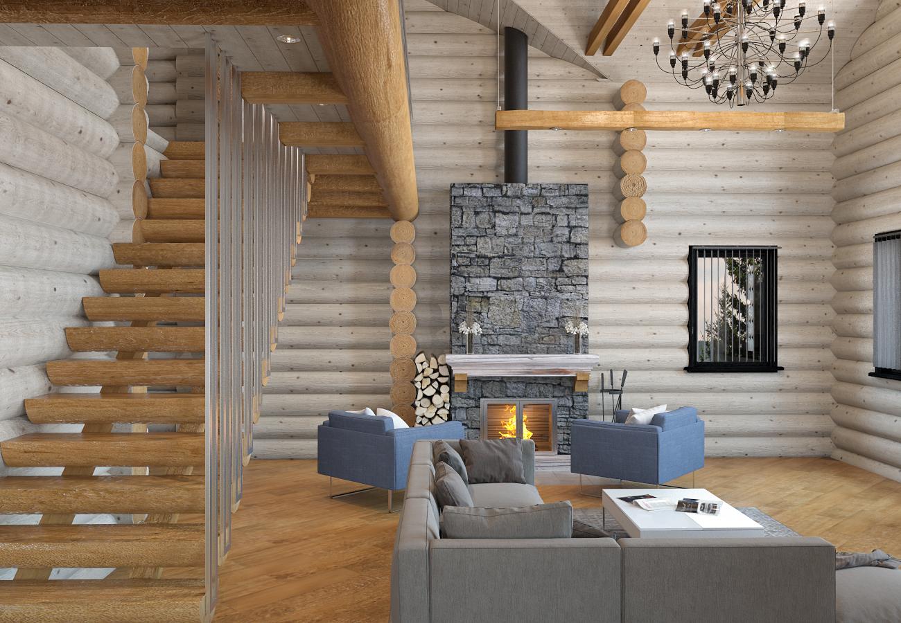 дизайн интерьера деревянного дома (7)