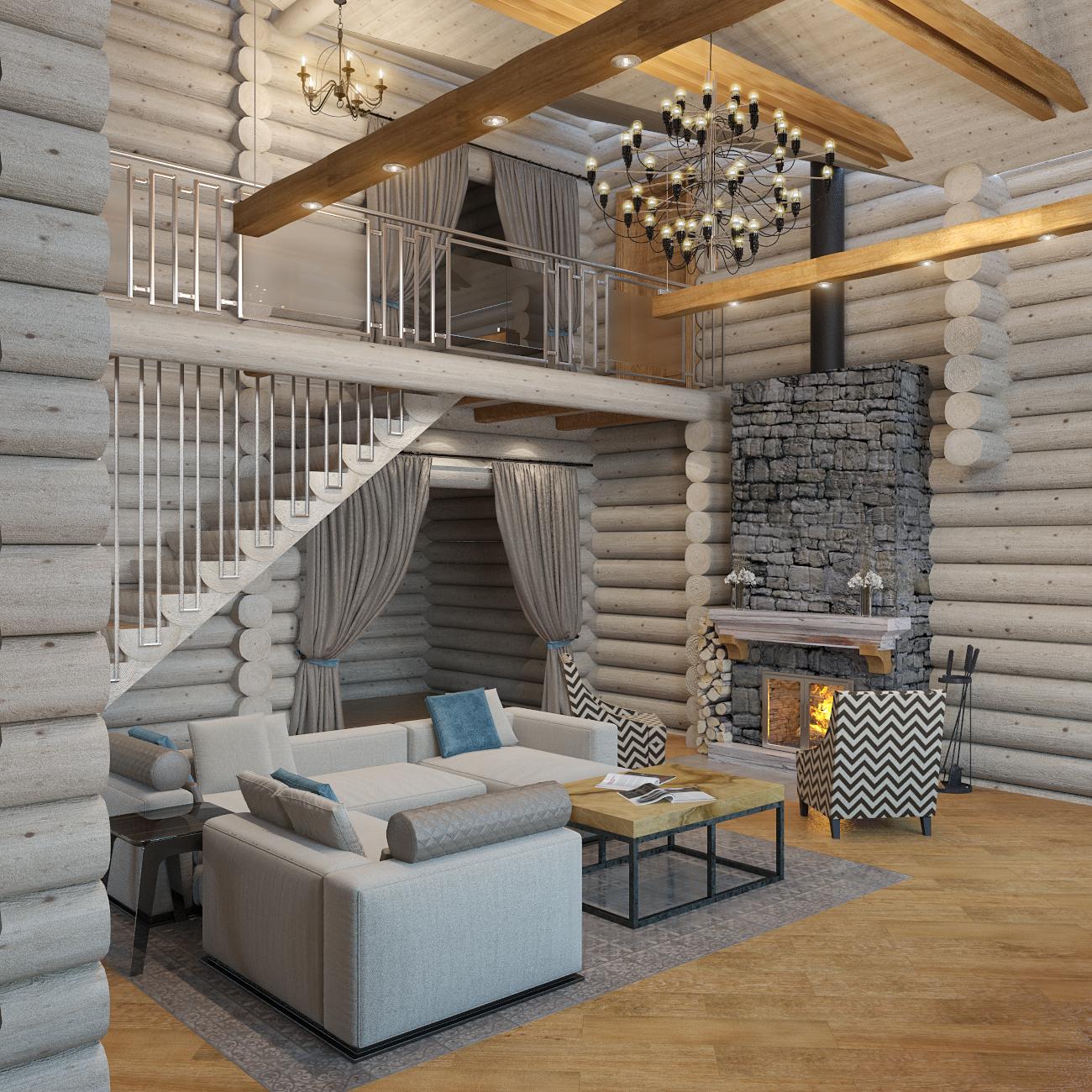 дизайн интерьера деревянного дома (2)