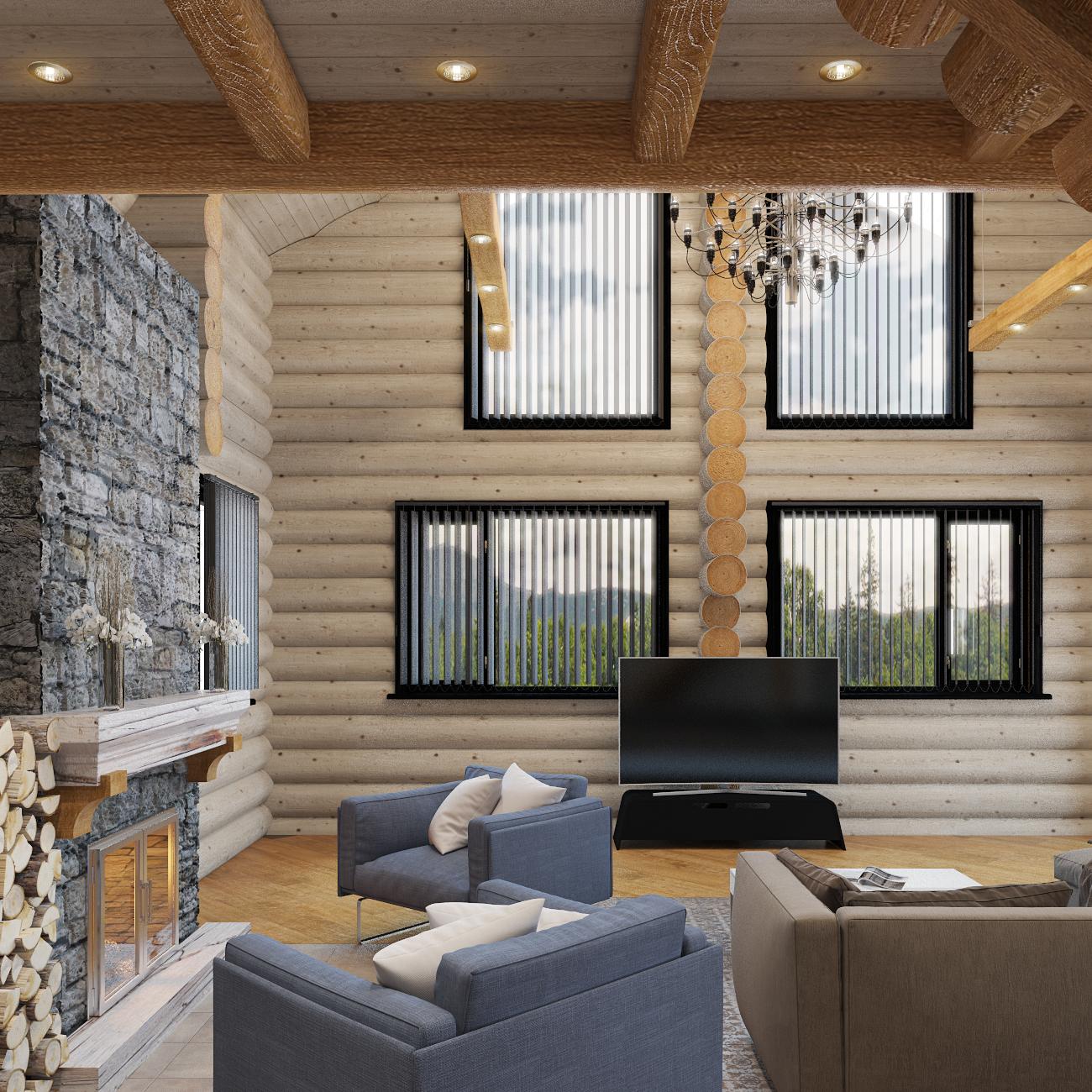 дизайн интерьера деревянного дома (4)