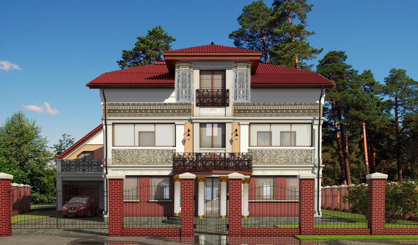 вид дома сграфито